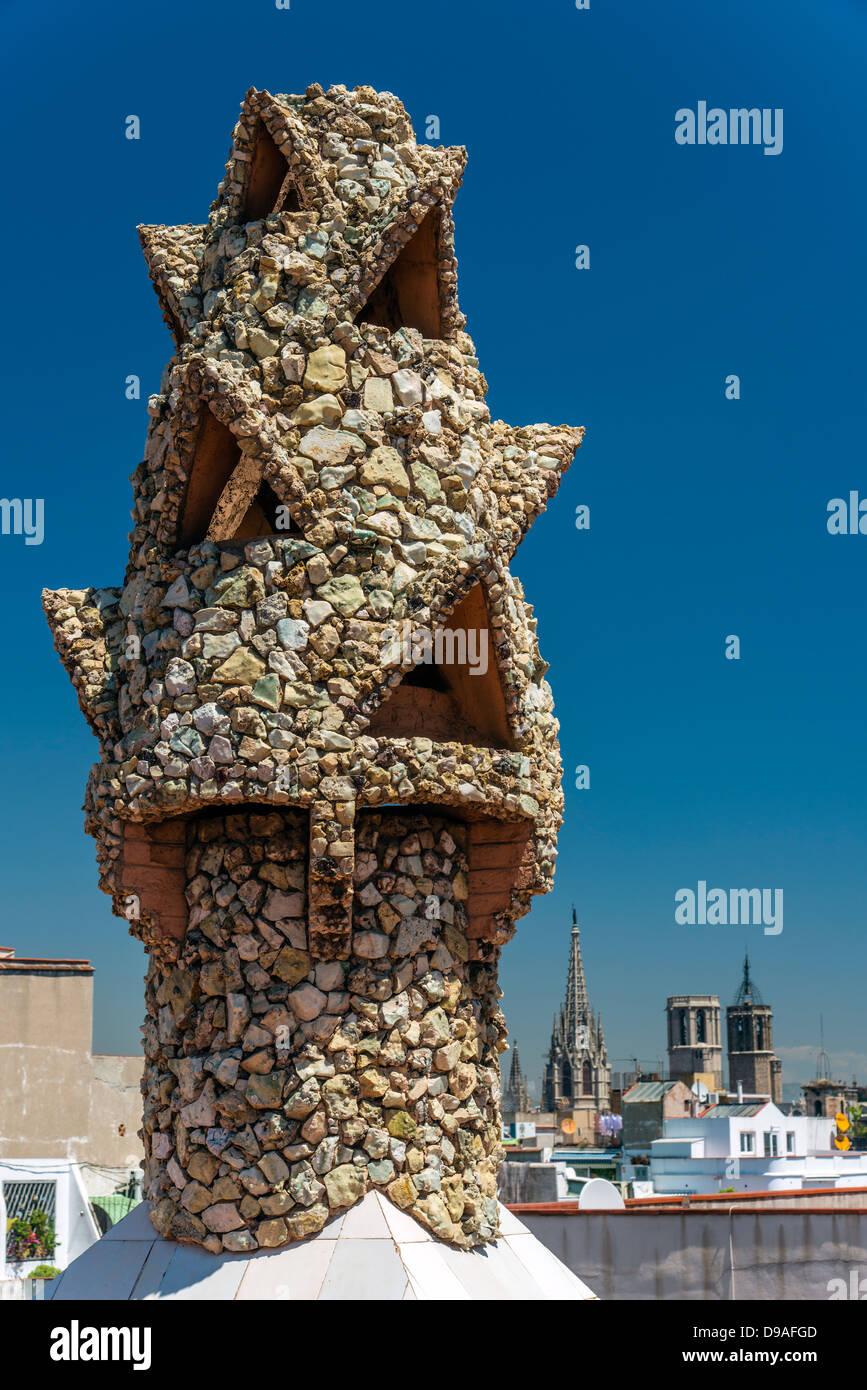 Mosaic chimney, Palau Güell, Barcelona, Catalonia, Spain - Stock Image