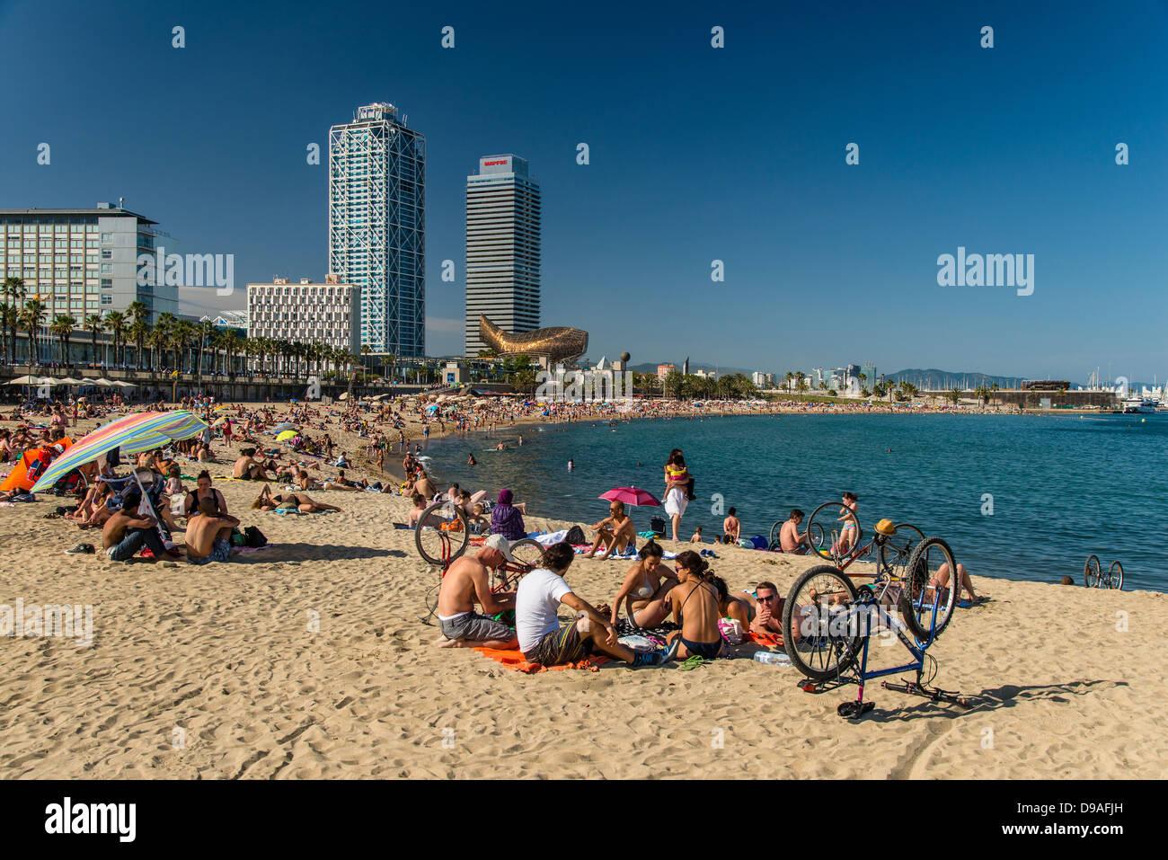 Sunbathers at Somorrostro beach, Barcelona, Catalonia, Spain - Stock Image