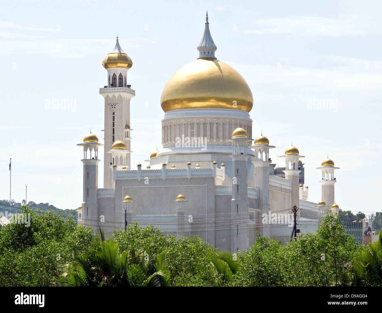 Sultan Omar Ali Saifuddien Islamic mosque located in Bandar Seri Begawan, the capital of the Sultanate of Brunei. - Stock Image