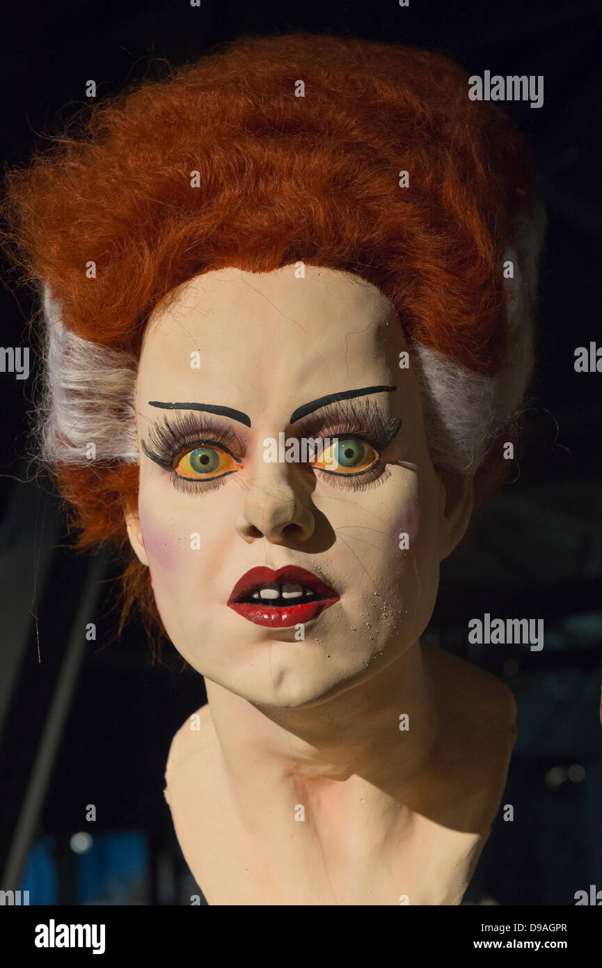 Garden City, New York. 15th June 2013. The Bride of Frankenstein bust, with red and white wig, is on display at - Stock Image