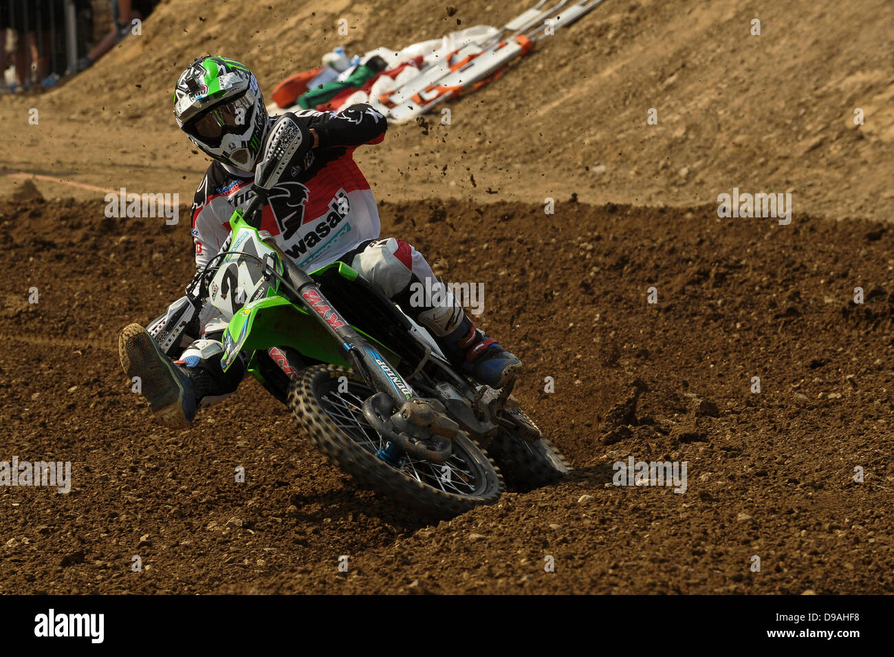 Maggiora, Italy. 16th June, 2013. Number 21 Gautier Paulin during the MX1 World Motocross Championships from Maggiora. - Stock Image