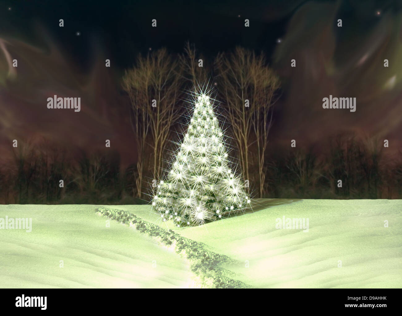lighted christmas tree and aurora borealis depiction - Stock Image