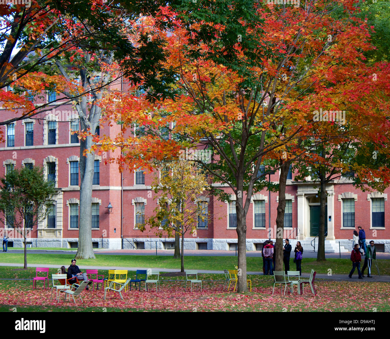 Colorful fall foliage in Harvard Yard, the old heart of the campus of Harvard University in Cambridge, MA, USA. Stock Photo