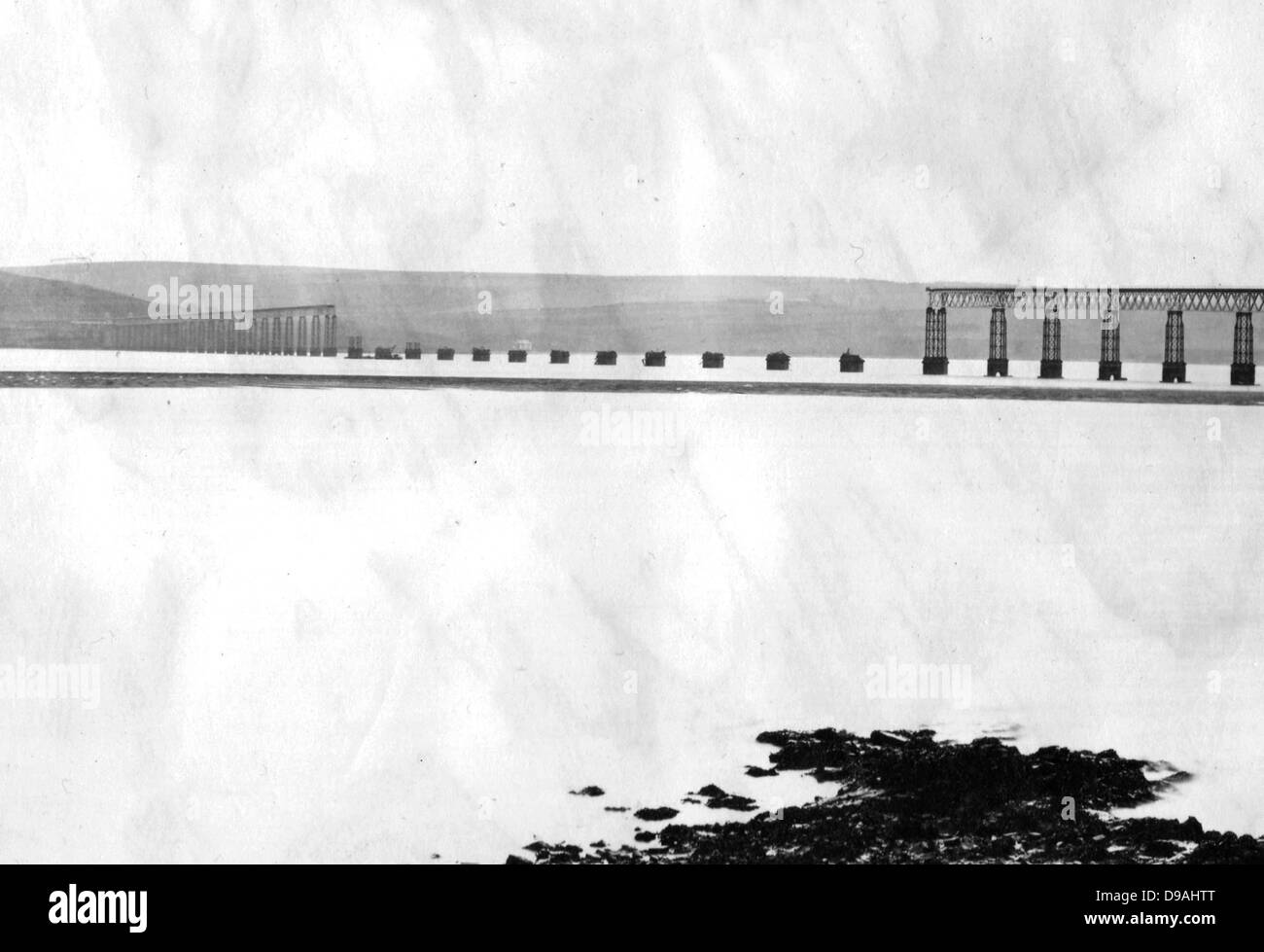 Original Tay Bridge after the collapse, Scotland - Stock Image
