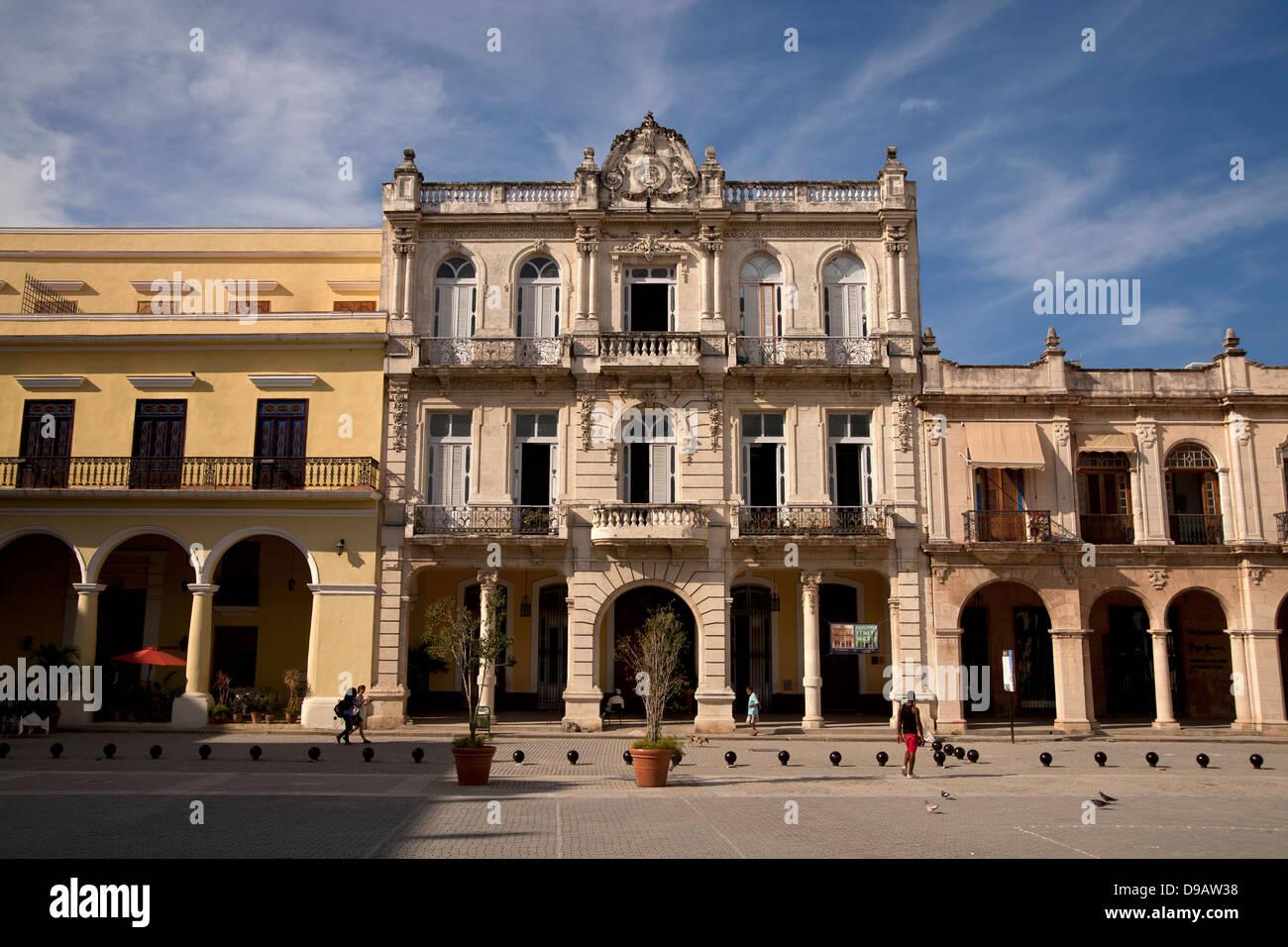 old town square Plaza Vieja in Havana, Cuba, Caribbean Stock Photo