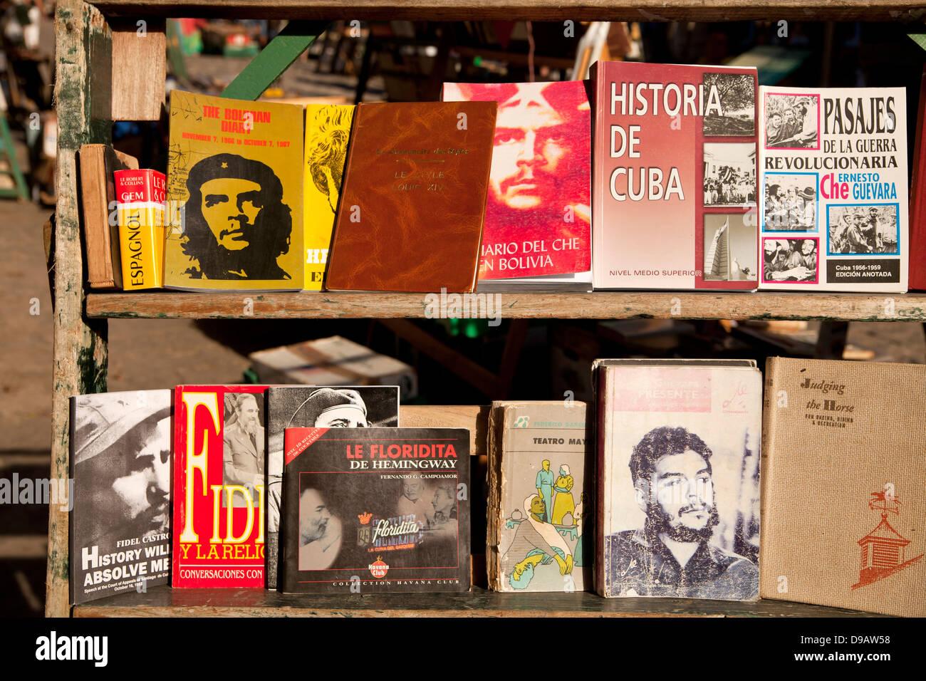 books about cuban history, Havana, Cuba, Caribbean - Stock Image