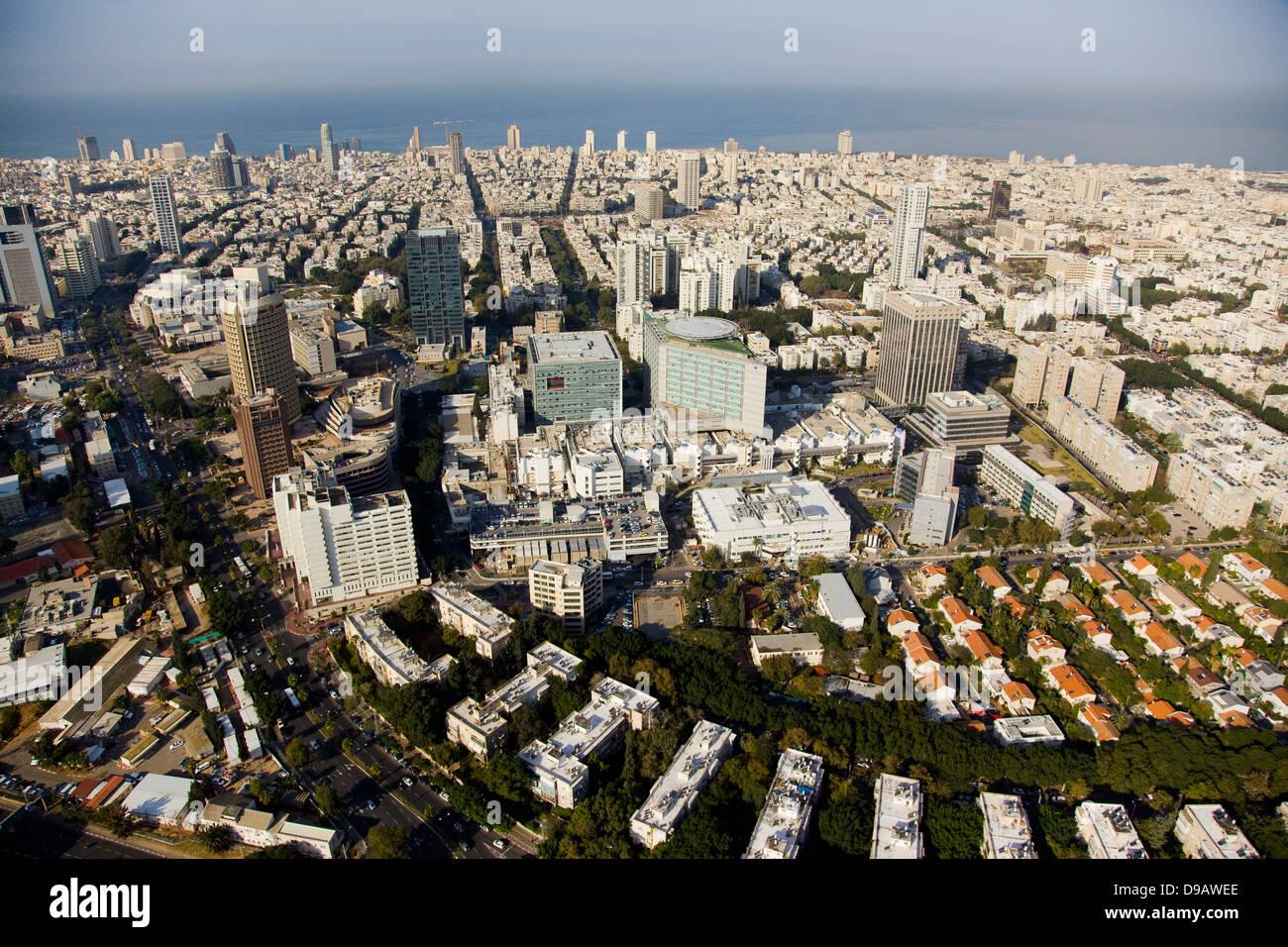 An aerial photo of Tel Aviv citycenter Stock Photo