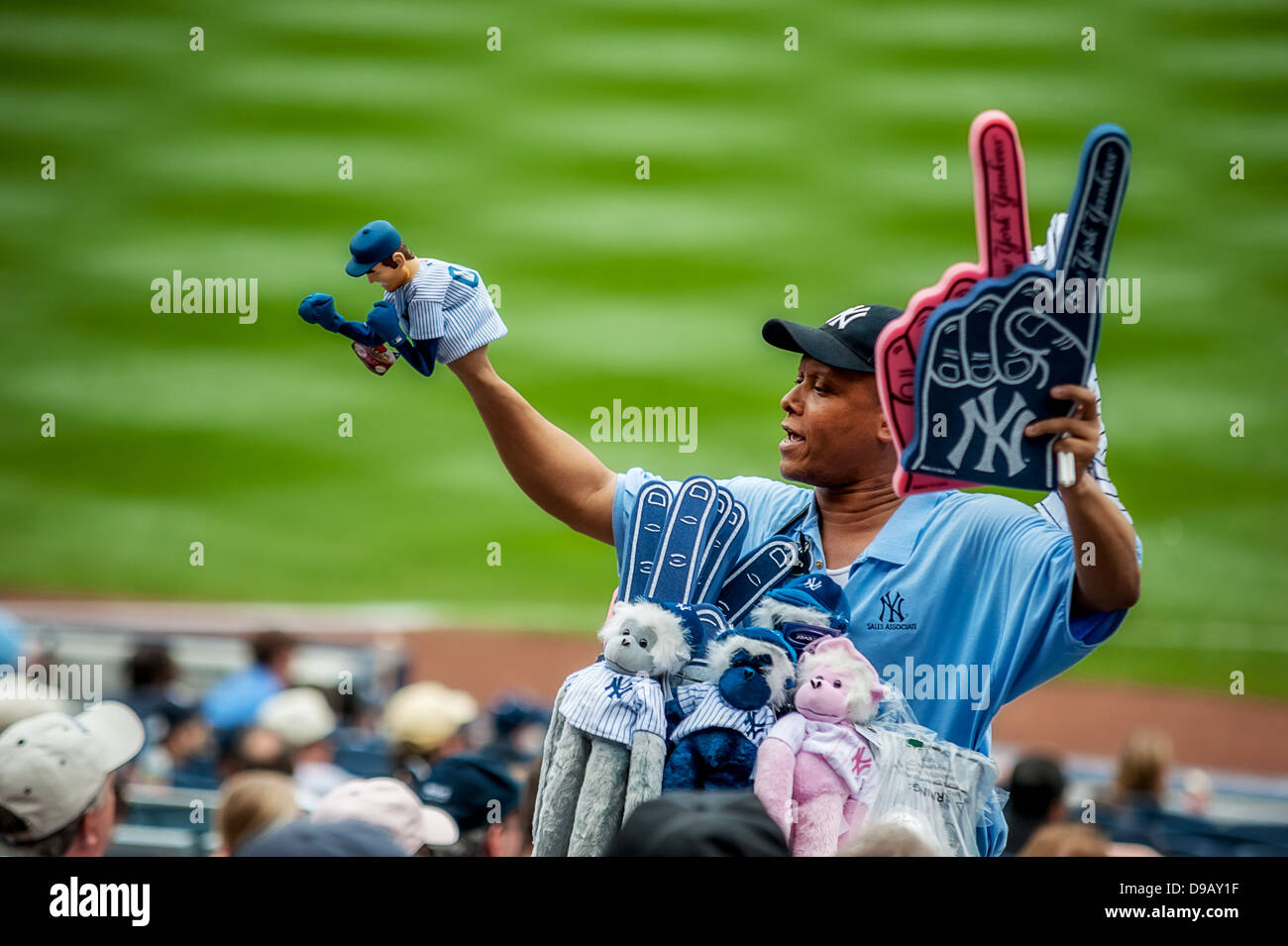 A souvenir and merchandise seller at Yankee Stadium. - Stock Image