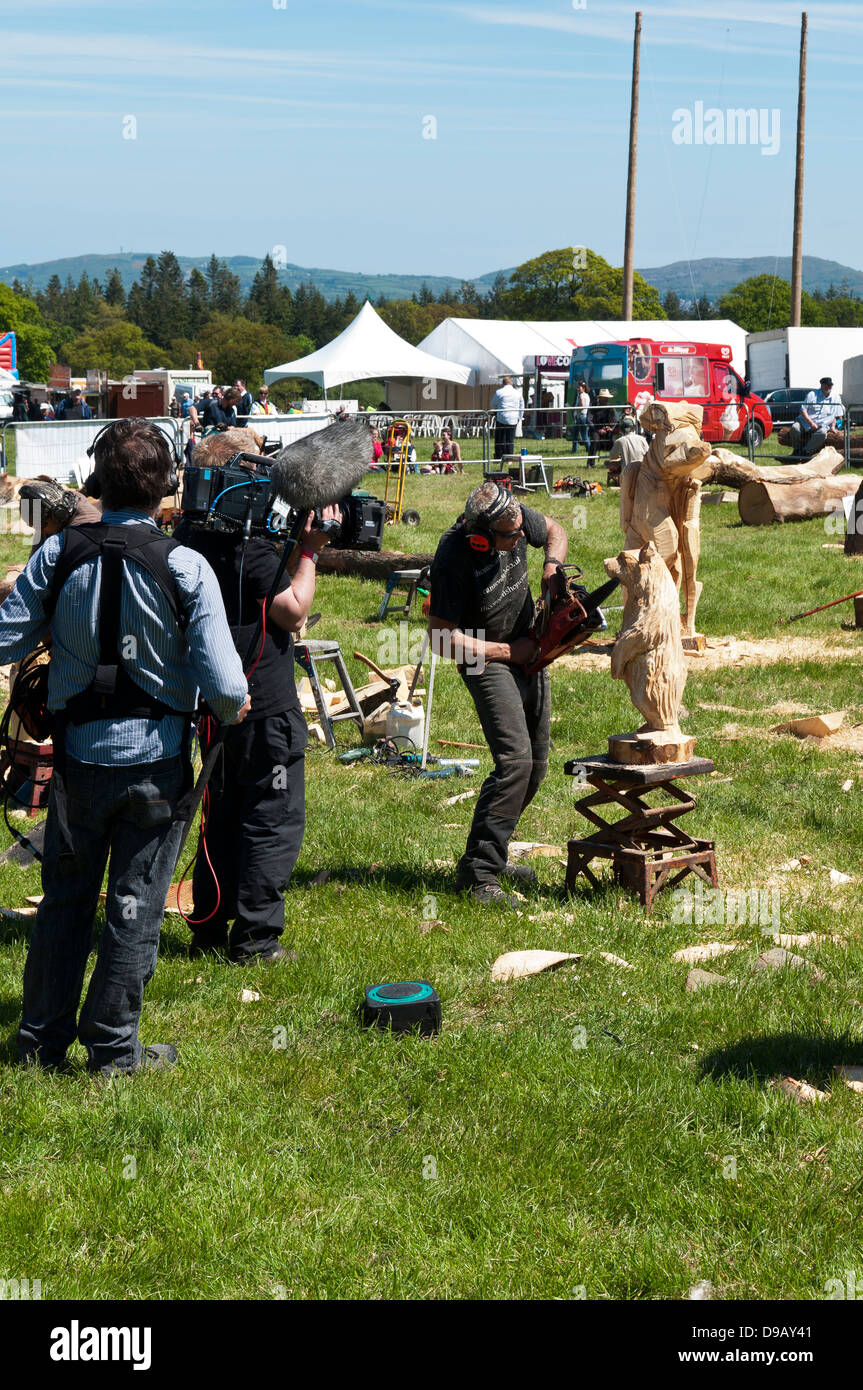 St Asaph Woodfest Countryfile May 31st 2013  BBC Film crew - Stock Image