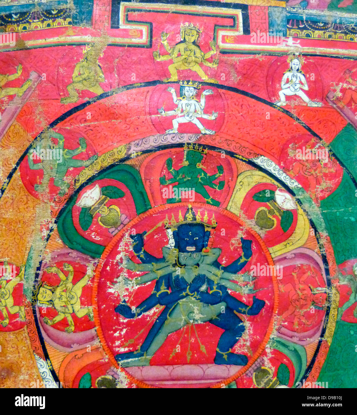Scroll Painting (Thangka) with Four Mandalas 1400-1500.  Each of these four mandalas, or ritual diagrams, represents - Stock Image
