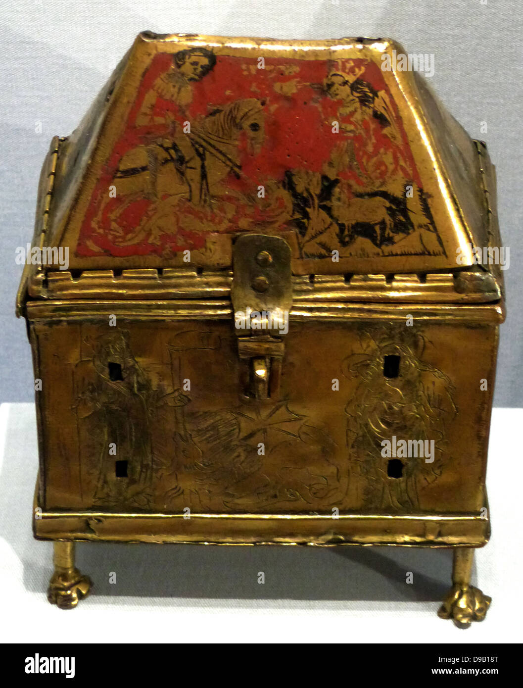 St George Reliquary Casket. A casket containing the relics of St george patron saint of England (depicted on the - Stock Image