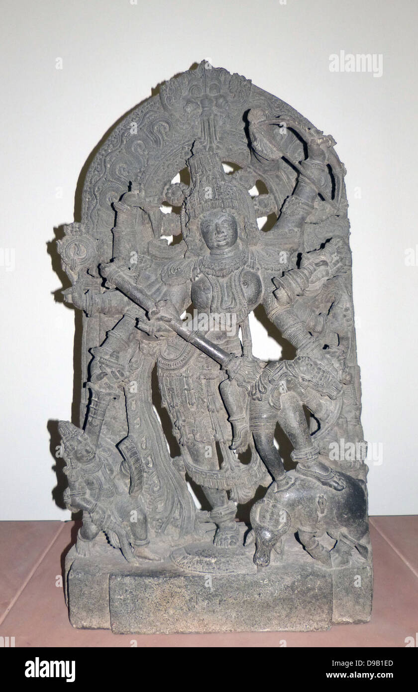 Durga as Mahisasuramardini (circa 1240-60) Hoysala period.  The goddess Durga represents the shakti or female energy - Stock Image