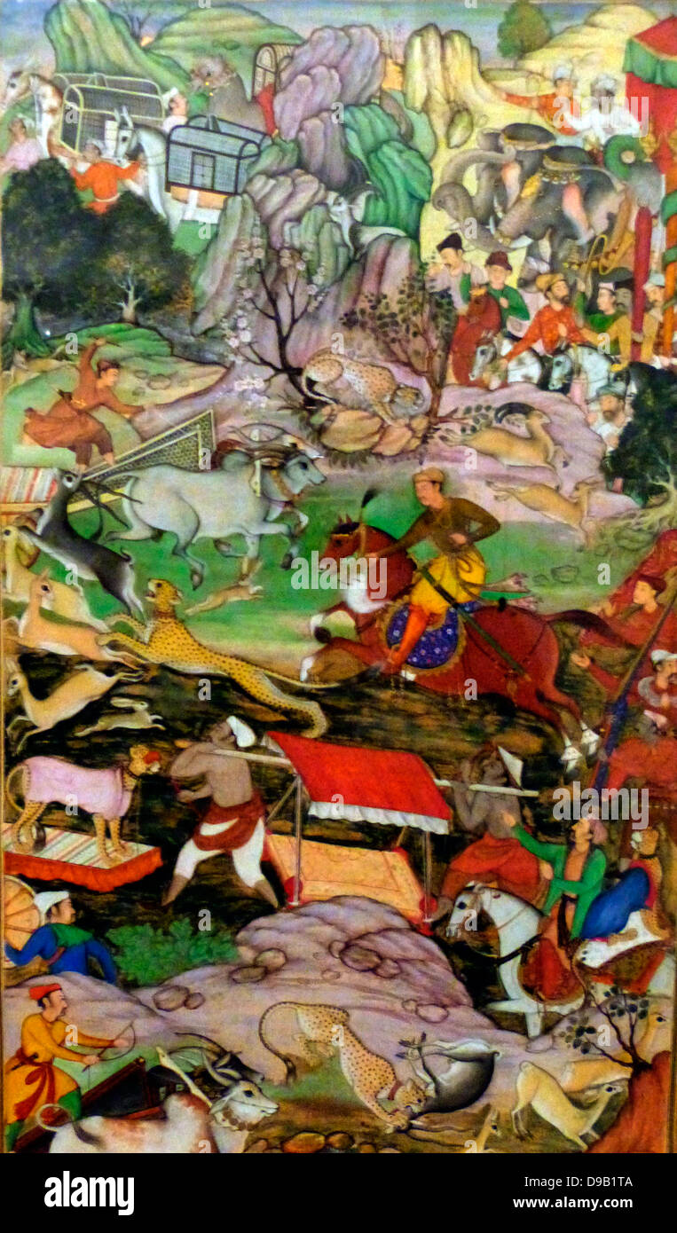 Akbar hunting with Cheetahs.  From the Akbarnama (Book of Akbar). Composition by Basawan, painting by Dharmdas. - Stock Image