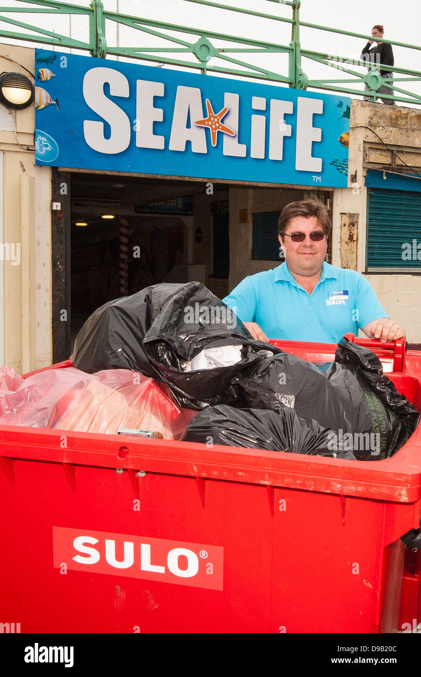 Brighton, UK. 17th June, 2013. Max Levinston with just some of the rubbish collected by staff from his Brighton - Stock Image
