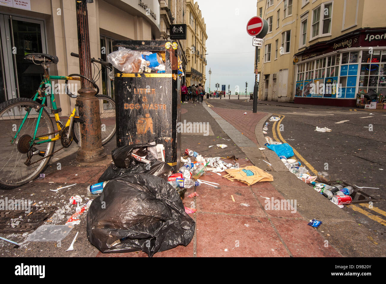 Brighton, UK. 17th June, 2013. Sin Bin City -Rubbish strewn East Street in Brighton.  The city's cleaners are - Stock Image