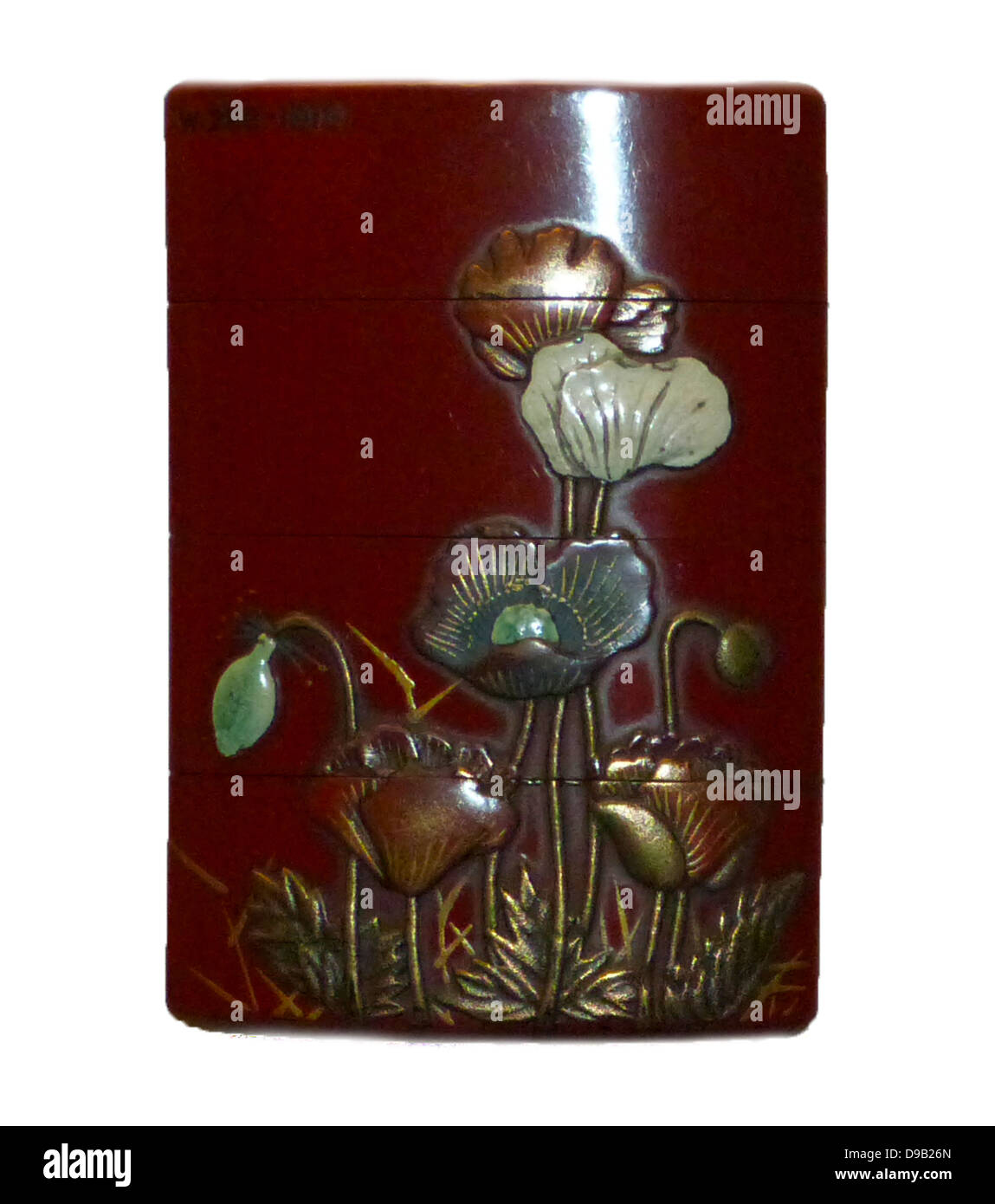 Inro, Lacquer with glazed pottery and poppies, signed by Hanzan with a seal, circa 1775-1850. - Stock Image