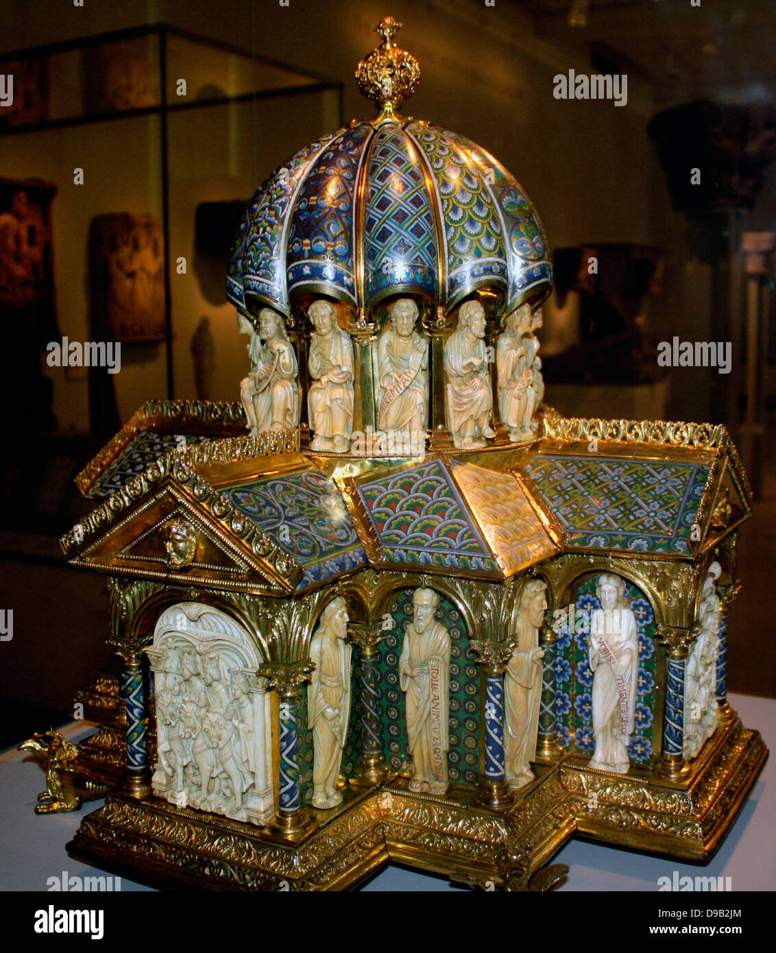 Tabernacle circa 1180. This Romanesque goldsmiths' work and carving combines widely varied foliage patterns - Stock Image