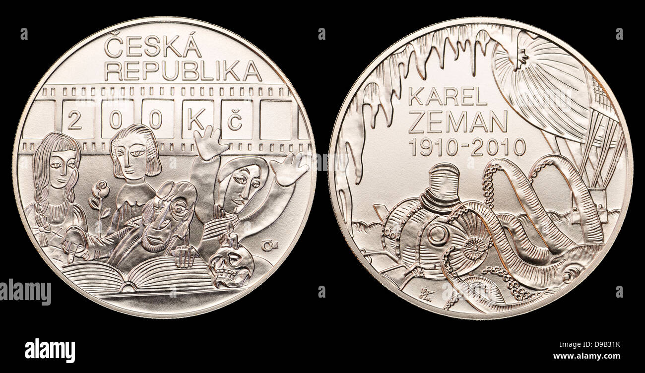 200Kc Silver commemorative coin from the Czech Republic. 100th anniversary of the birth of Karel Zeman, film director - Stock Image