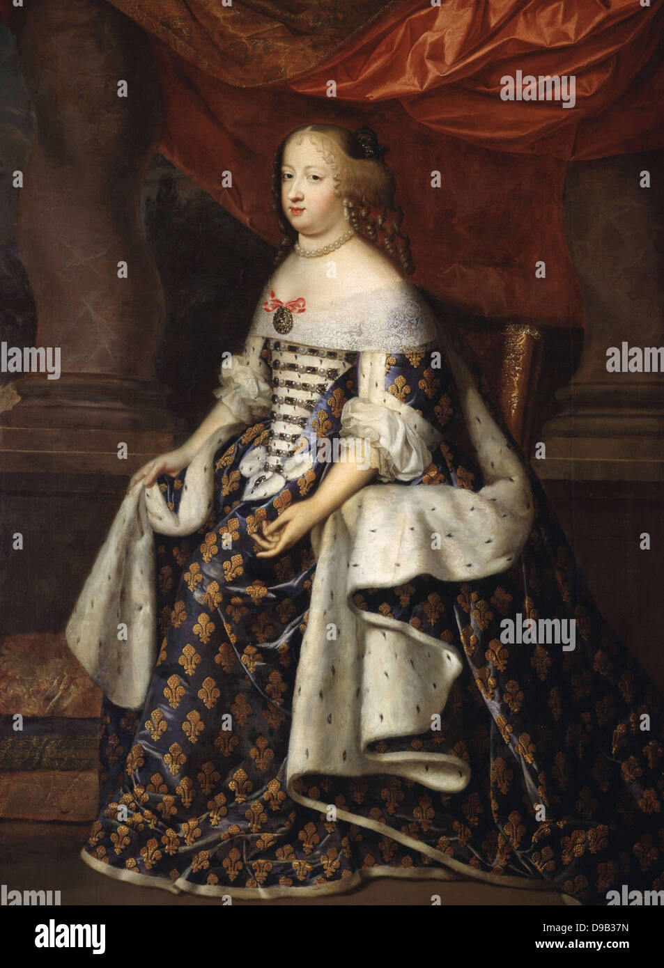 Charles Beaubrun Portrait of Marie-Thérèse of Austria Queen of France XVII th century Versailles Museum - Stock Image