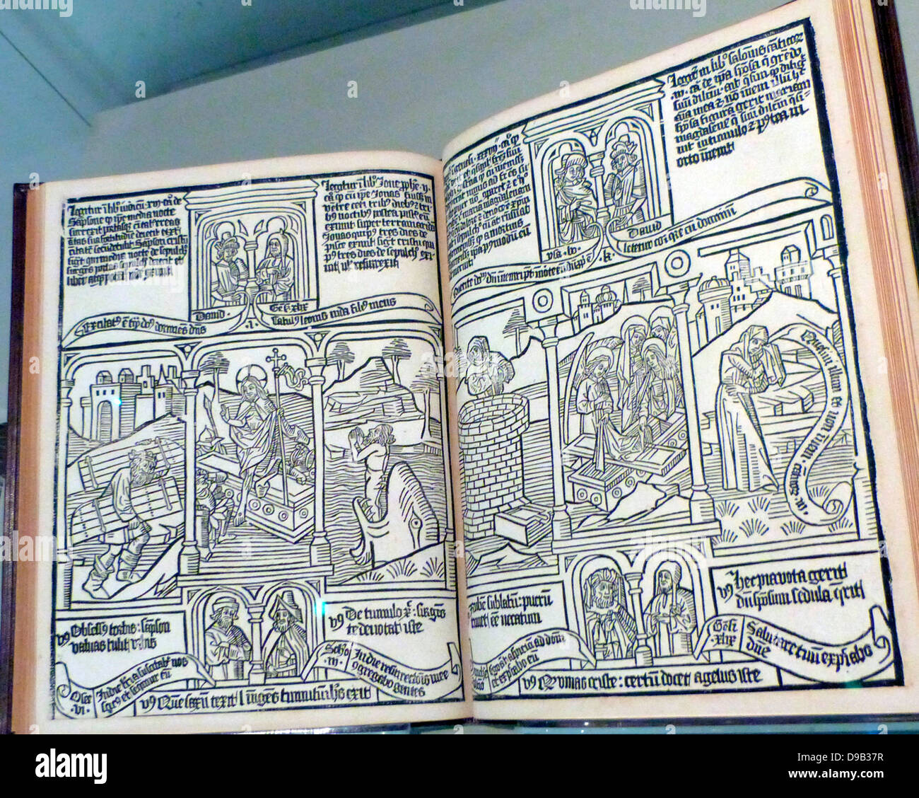 Blockbook Bible for the poor circa 1465. Each page was printed from a single woodblock, a method that was used for - Stock Image