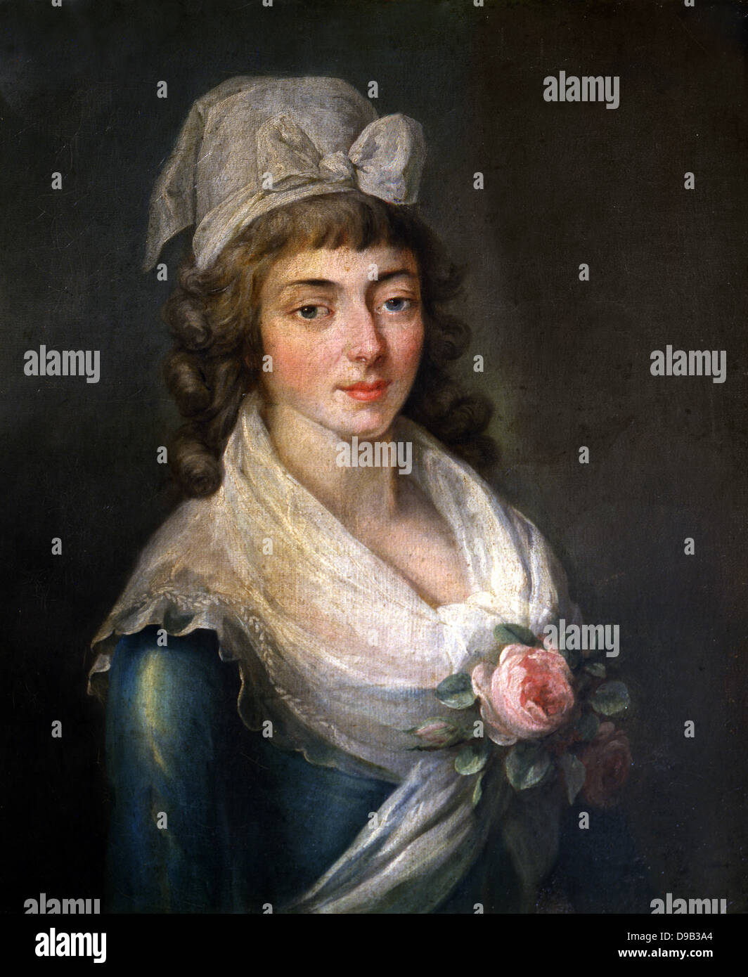 French school Portrait of Madame Roland with the Girondist bonnet XVIII th century Versailles - Stock Image