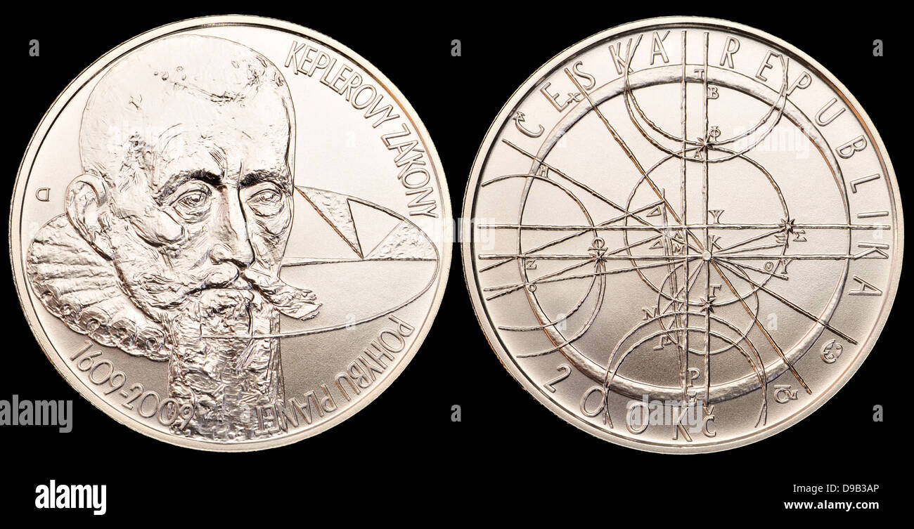 200Kc Silver commemorative coin from the Czech Republic. 400th anniversary of the Kepler's laws of planetary - Stock Image