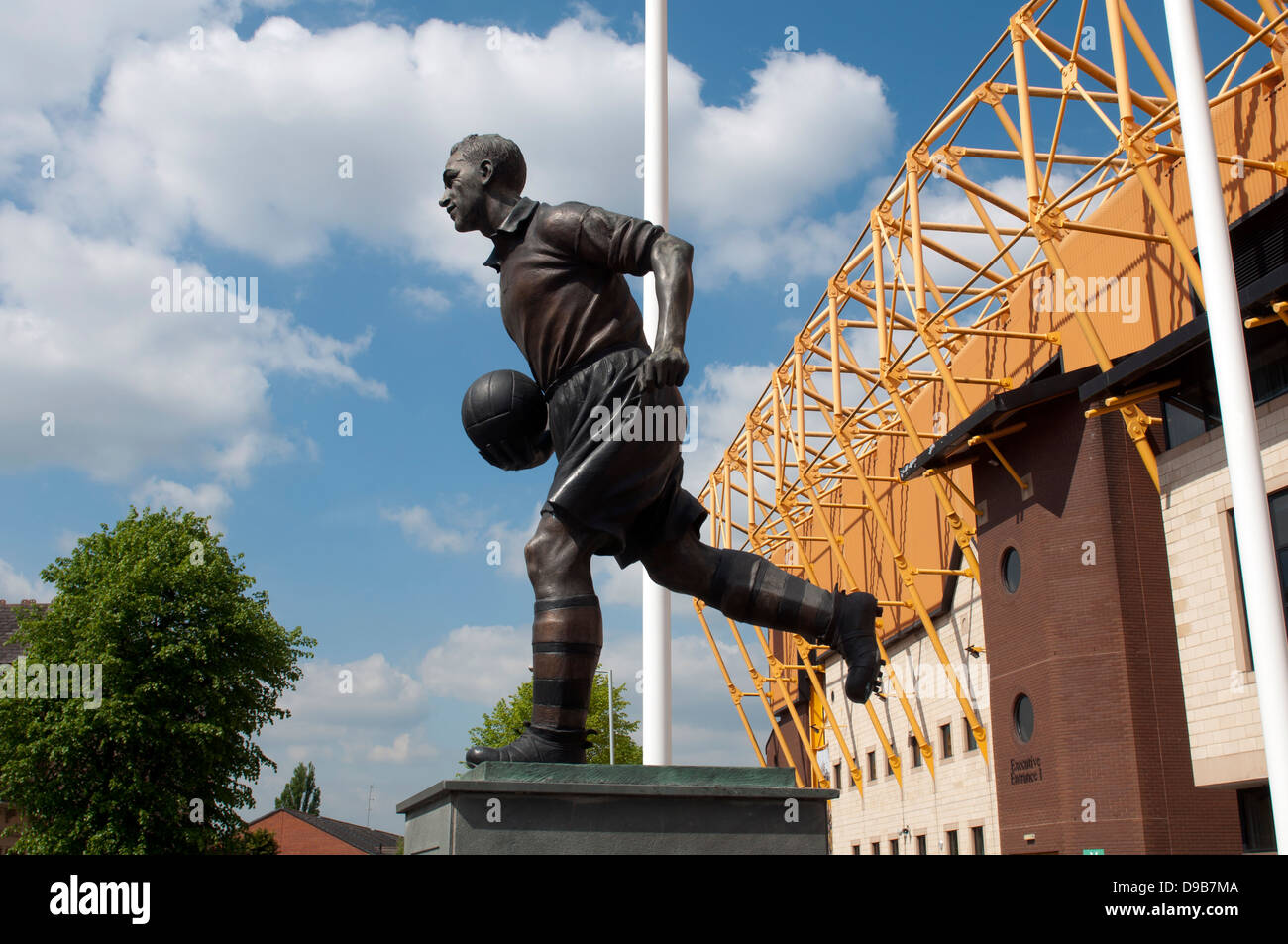 Billy Wright statue outside Molineux, Wolverhampton, UK - Stock Image
