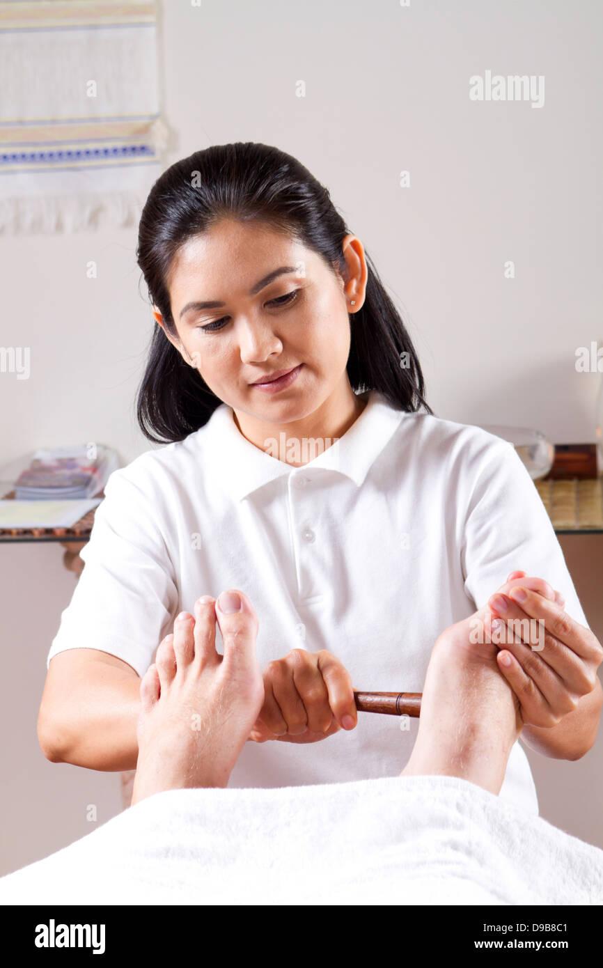 Asian girl giving massage
