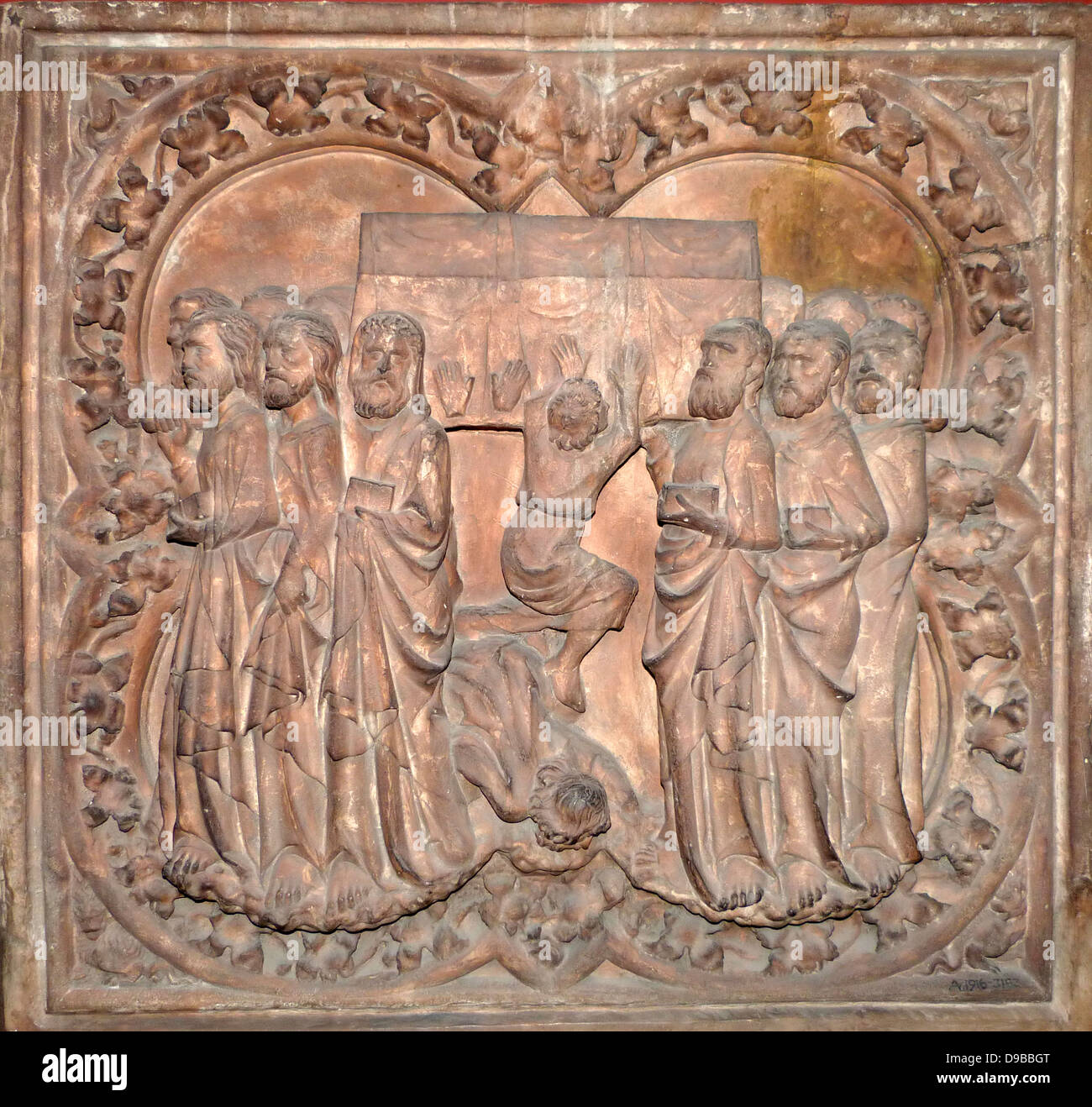Plaster Cast, Paris, French.  The Coronation of the Virgin, carved in stone, on the north side of the exterior of - Stock Image