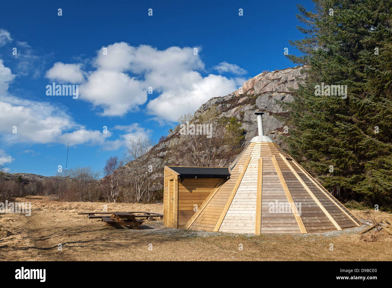 Small Wooden Free For Use Camping House In Norwegian Park Stock