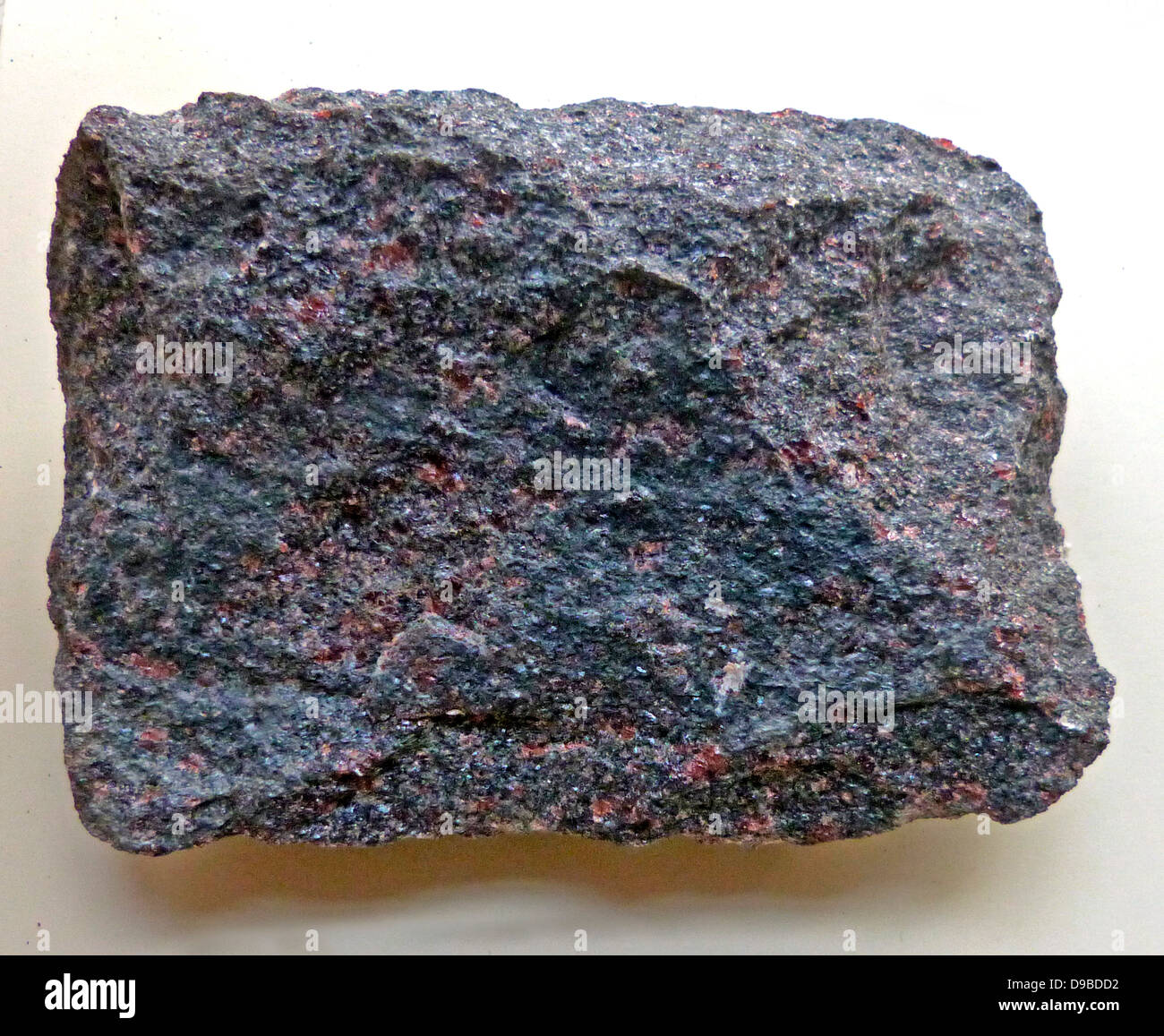 Eclogite ( is a colourful rock that is formed within the Earth under great temperatures, mafic (basaltic in composition) - Stock Image