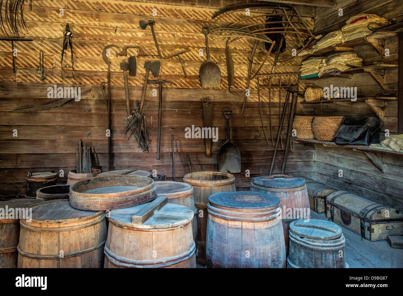 The supply storeroom at Mt Vernon, the estate of George Washington, Virginia, USA - Stock Image