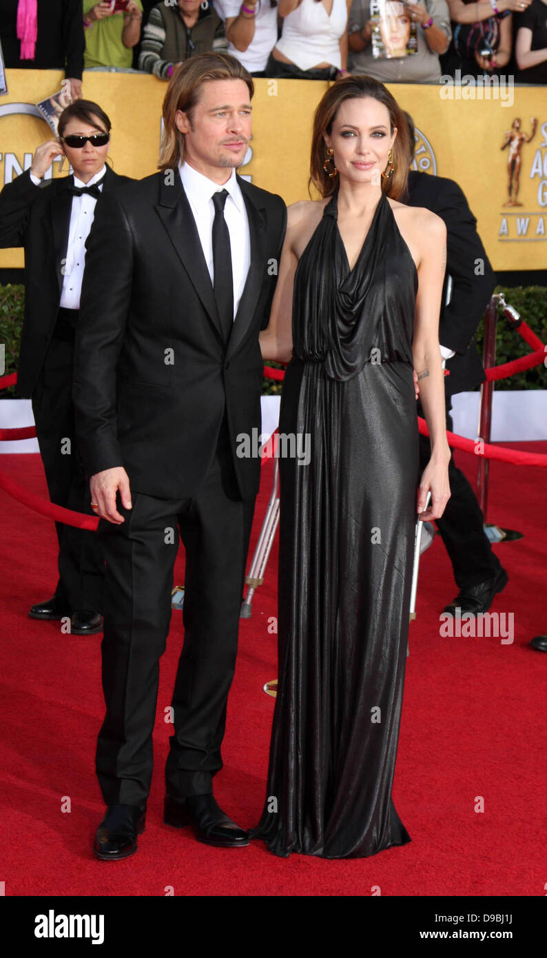 Brad Pitt and Angelina Jolie The 18th Annual Screen Actors Guild Awards held at the Shrine Auditorium - Arrivals - Stock Image