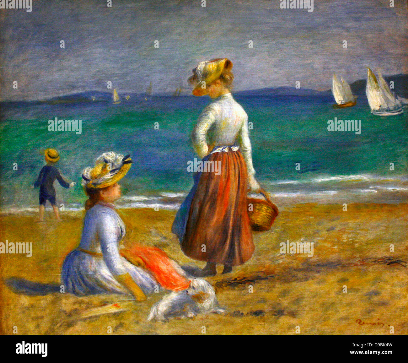 Pierre-Auguste Renior, French 1841-1919.  Figures on the Beach. - Stock Image
