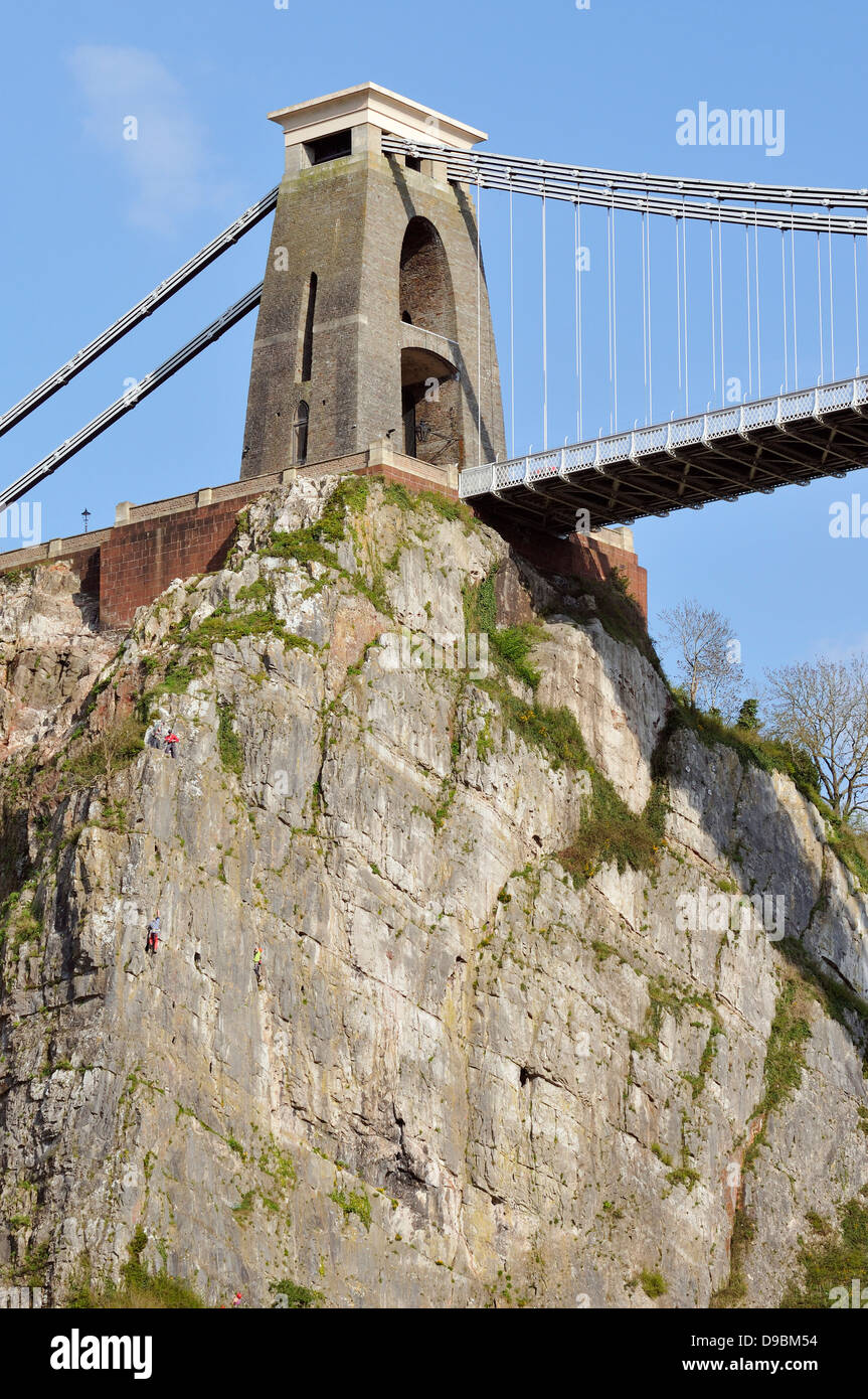 Cliffs and North Tower of Brunell's Clifton Suspension Bridge, Avon Gorge, Bristol - Stock Image