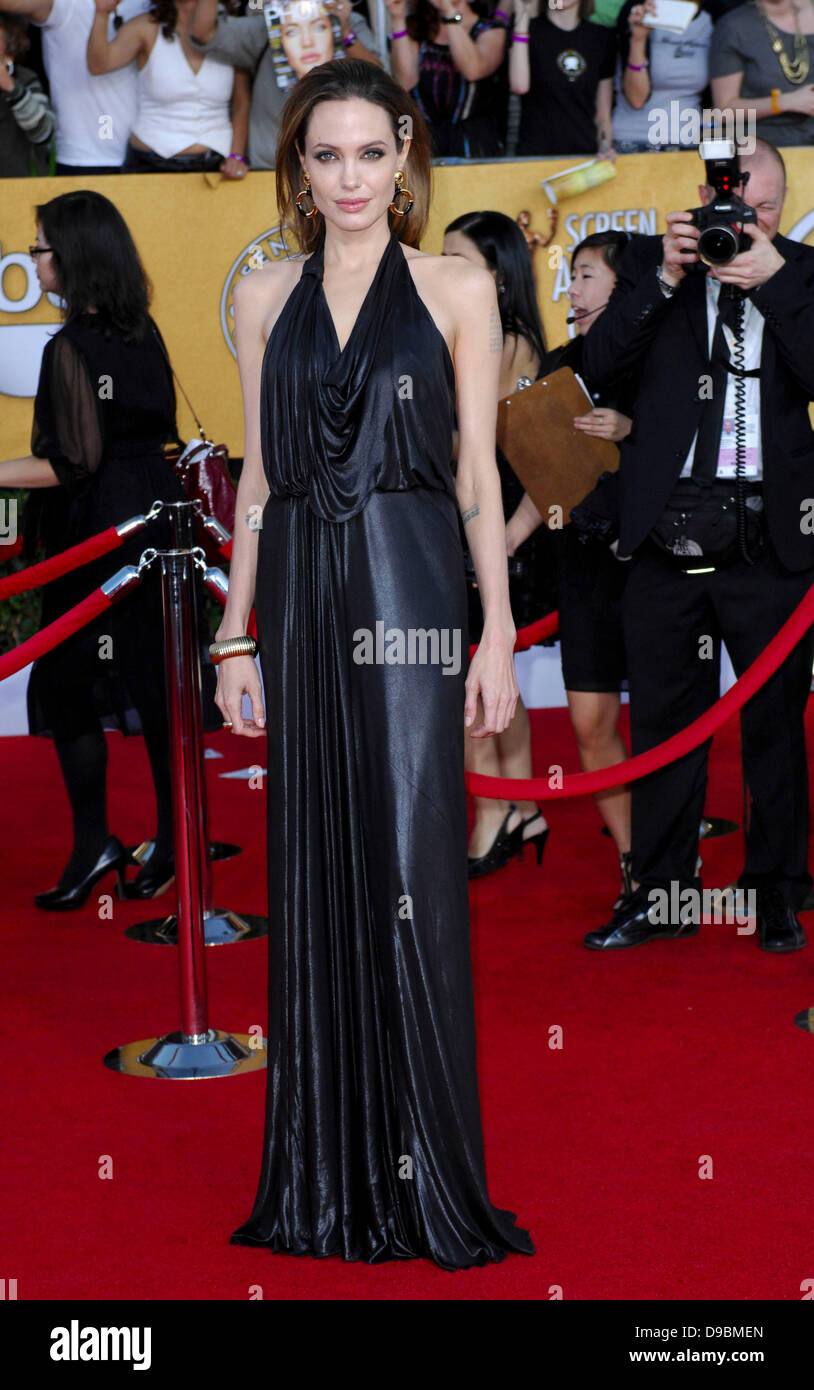 Angelina Jolie 18th Annual Screen Actors Guild Awards (SAG Awards) held at The Shrine Auditorium - Red Carpet Arrivals - Stock Image