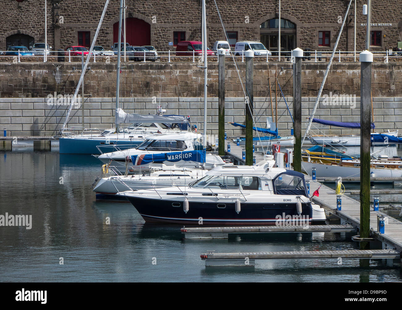 Jersey, St Helier Marina, Boats moored, Channel Islands - Stock Image