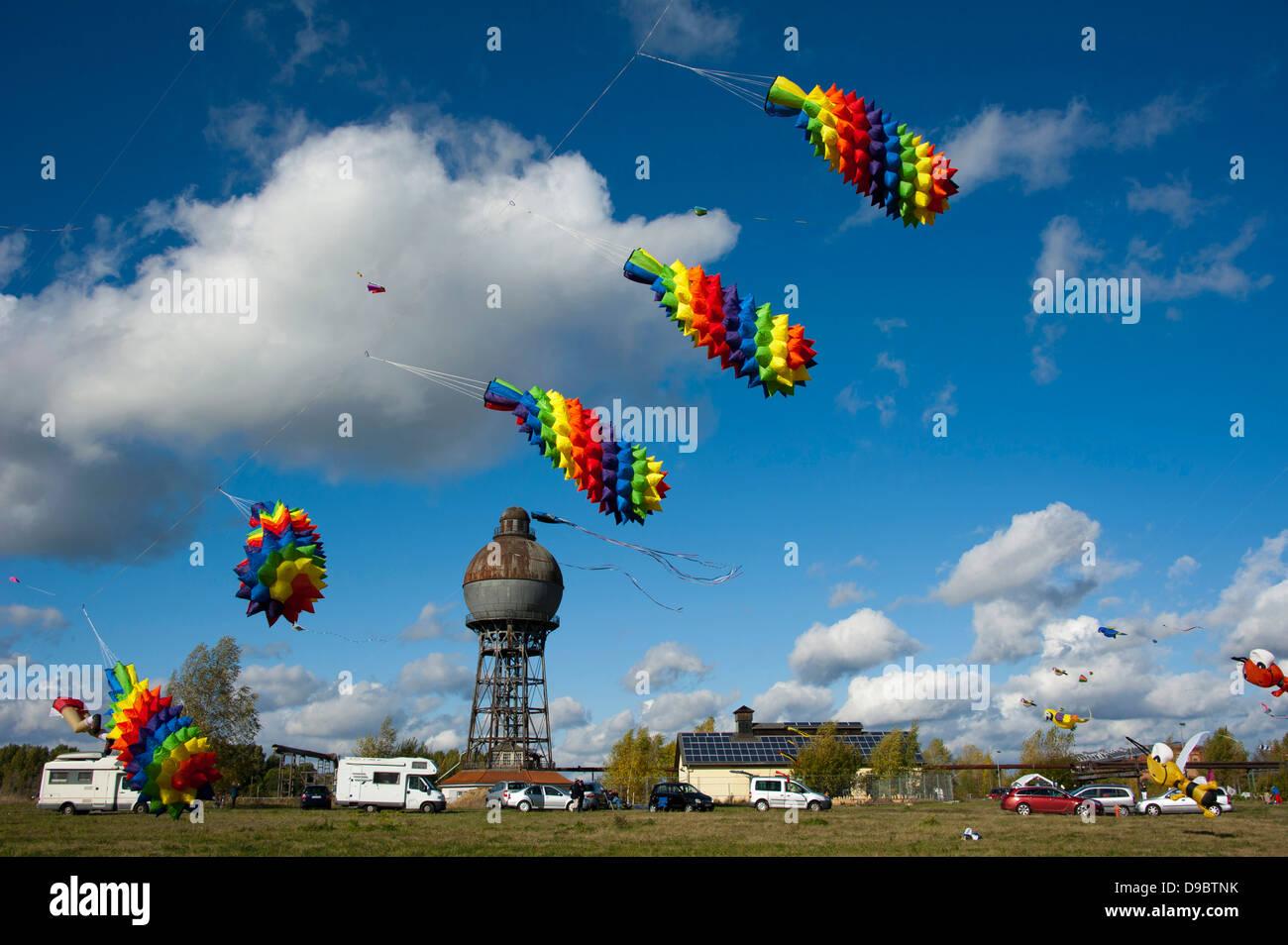 Kite festival, Ilseder Hutte, Ilsede, Lower Saxony, Germany, Ilseder H³tte , Drachenfest, Ilseder Huette, Ilsede, - Stock Image