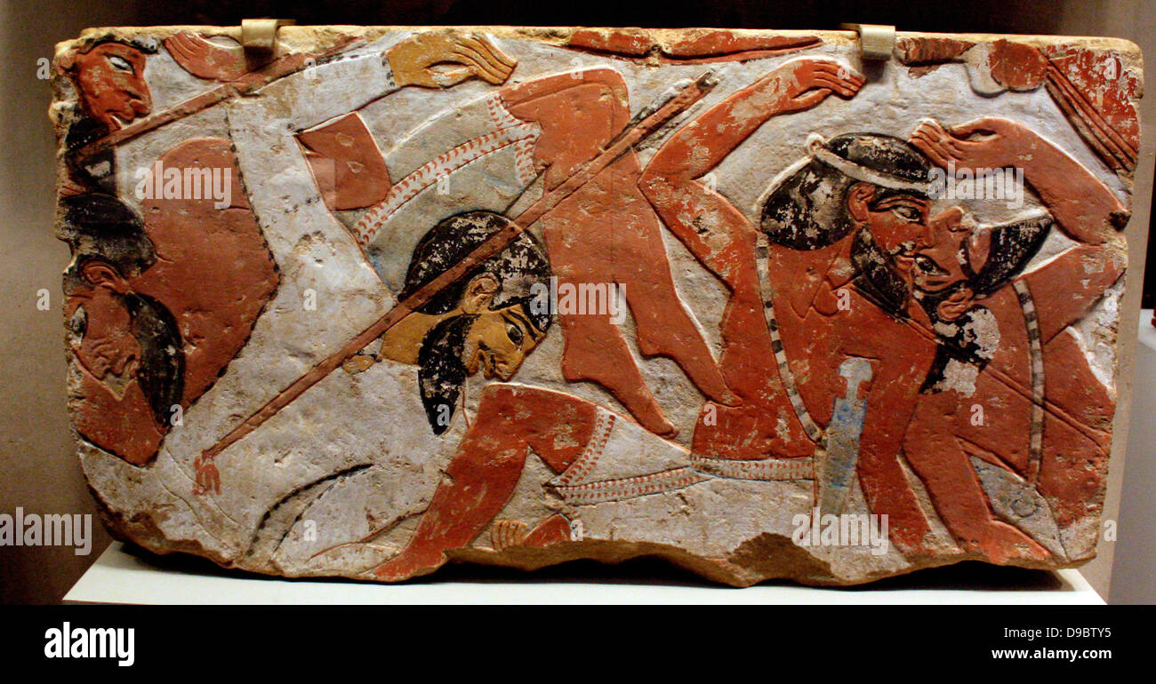 Two reliefs from battle scenes, early 18th Dynasty, probably reign of Amenhotep 11, (ca. 1479-400 B.C.) - Stock Image
