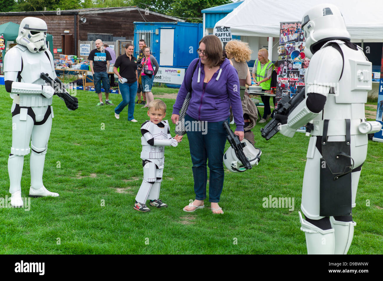 Two Storm Troopers and a Baby Storm Trooper with his Mother at the Herne Bay Si-Fi by the sea event - Stock Image