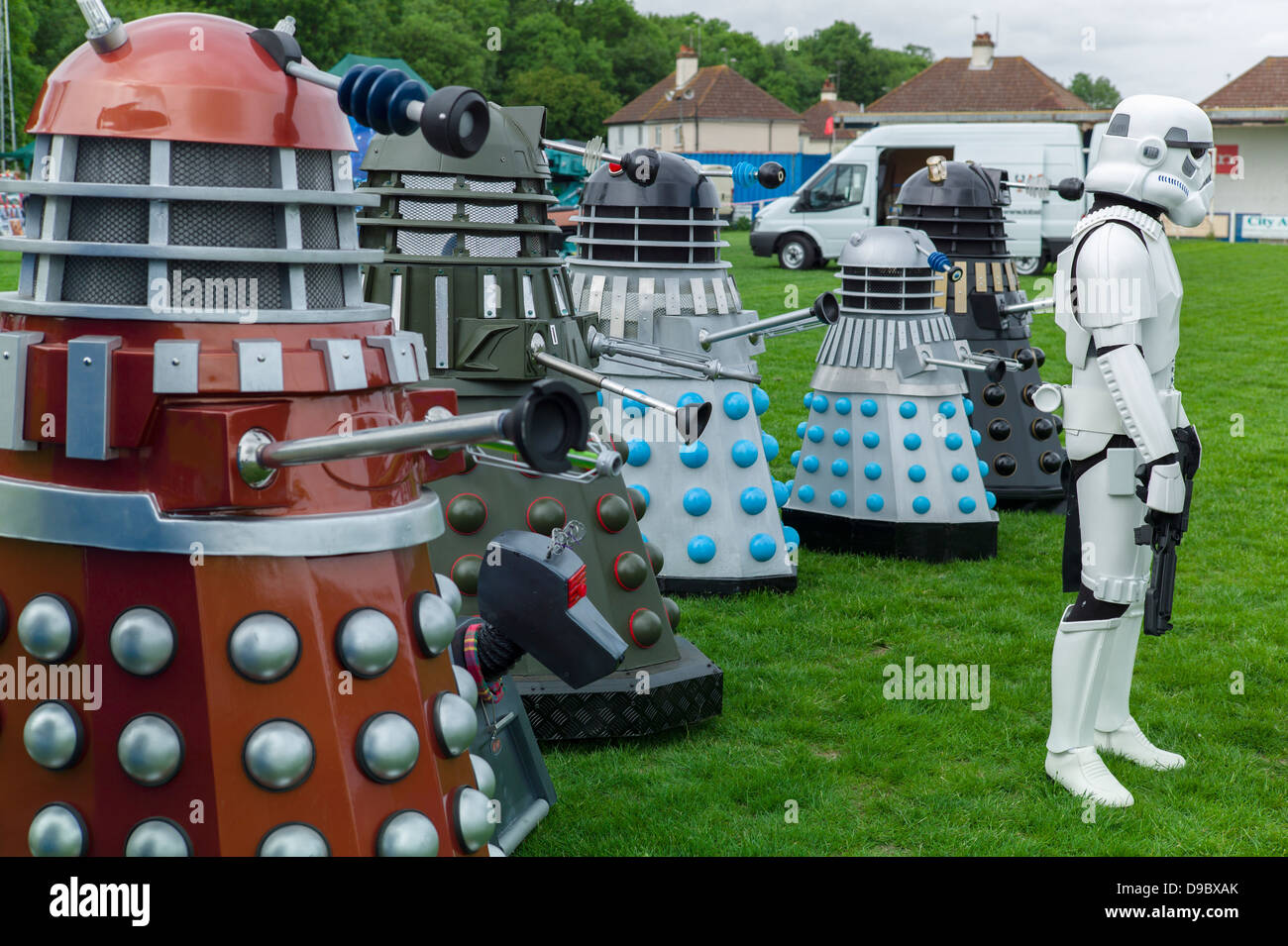 Daleks and a storm Trooper line up at the Herne Bay Si-Fi by the sea event - Stock Image