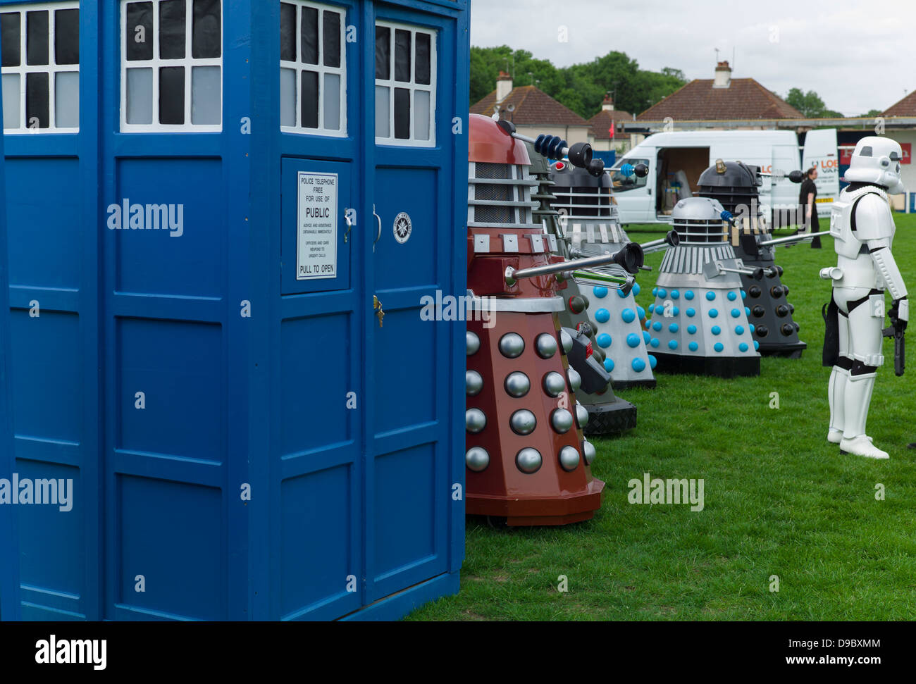 The Tardis, Daleks and a storm Trooper line up at the Herne Bay Si-Fi by the sea event - Stock Image