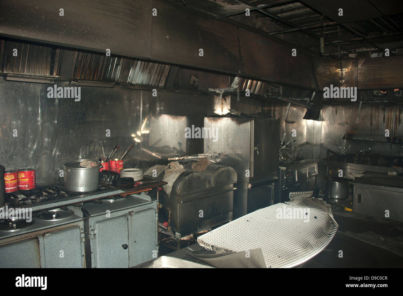 Commercial Chinese Restaurant Kitchen Fire Severe Stock