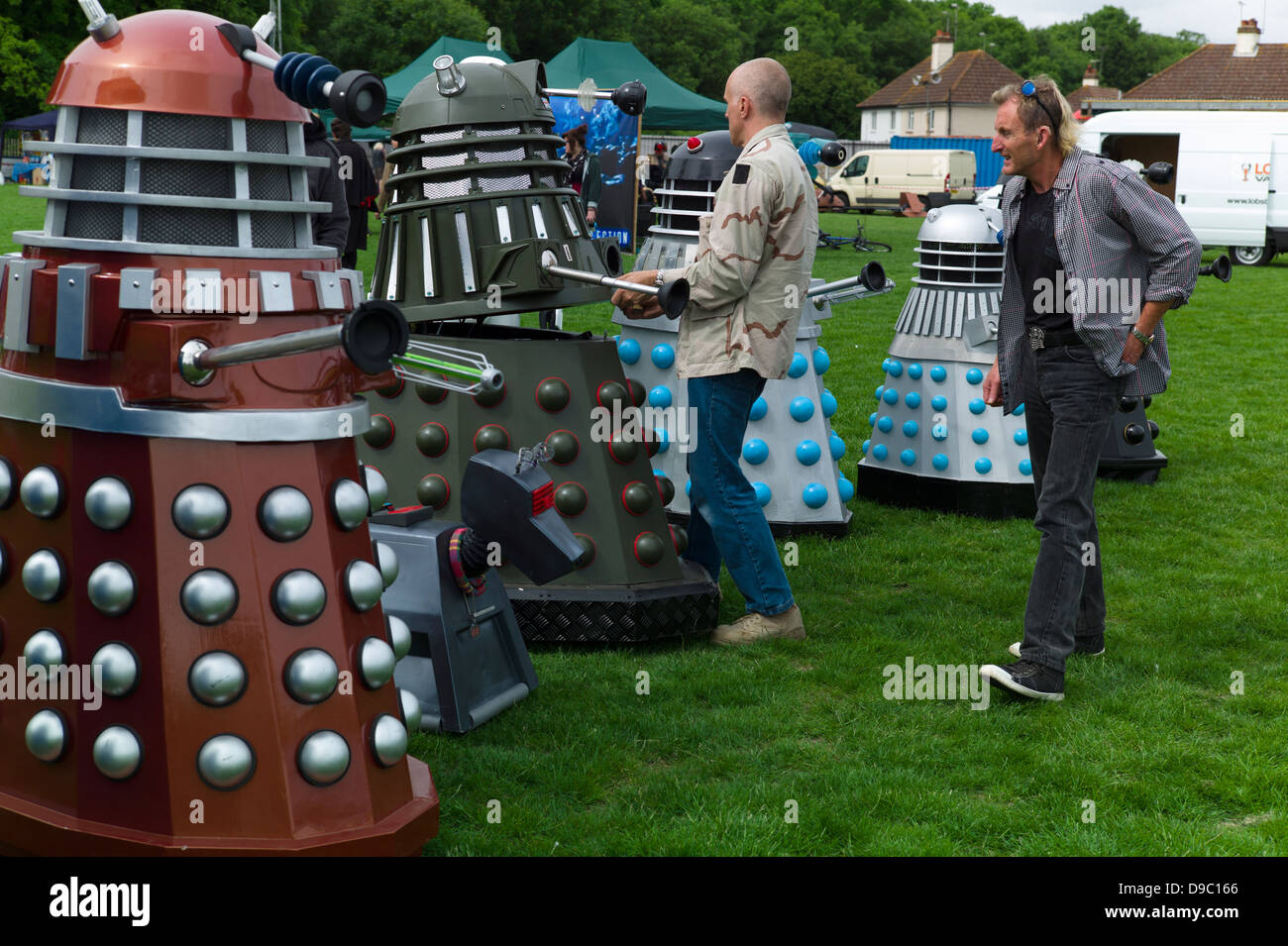 A row of Daleks on display  one being repaired at the Herne Bay Si-Fi by the sea event - Stock Image