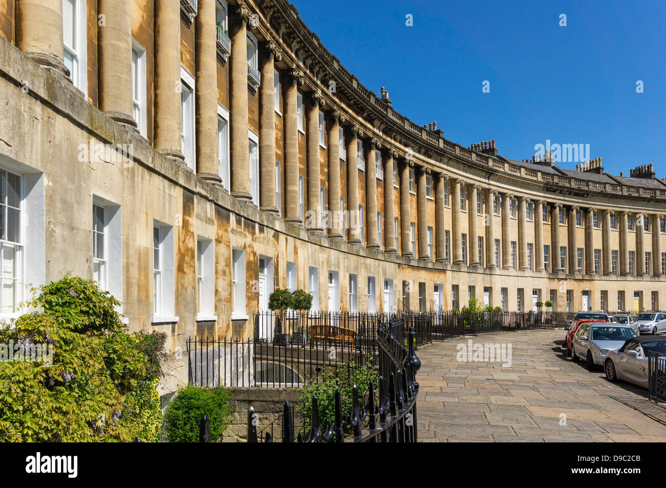 Bath, England - The Royal Crescent, Bath, Somerset, England, UK - Stock Image