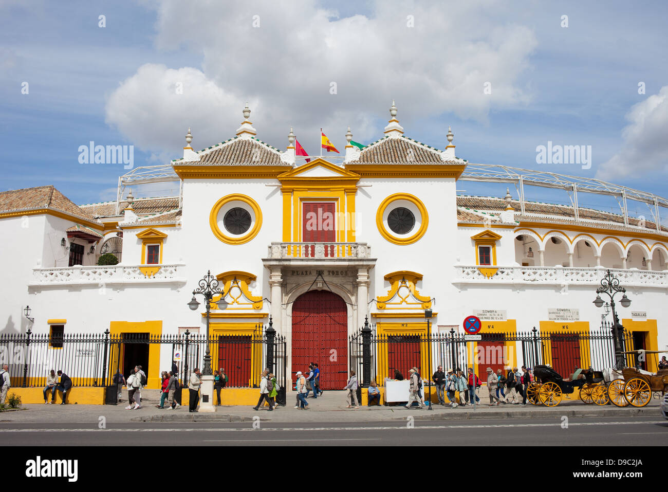 Bullring in Seville (Spanish: Plaza de Toros de la Real Maestranza de Caballeria de Sevilla), Andalusia, Spain. - Stock Image