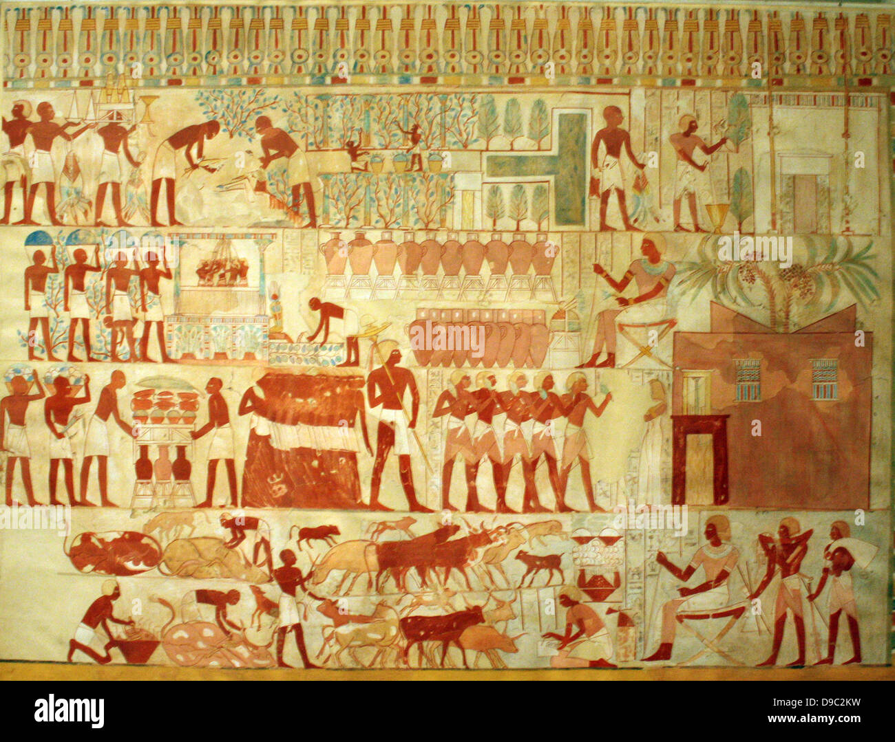 Egyptian Wall Paintings From The New Kingdom, Facsimies Of Ancient Egyptian  Wall Decoration. They Are Accurate Copies Of