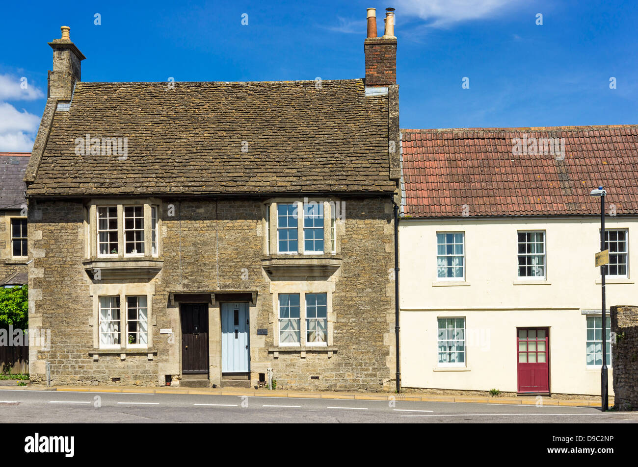 Old cottages in a village, England, Uk - Stock Image