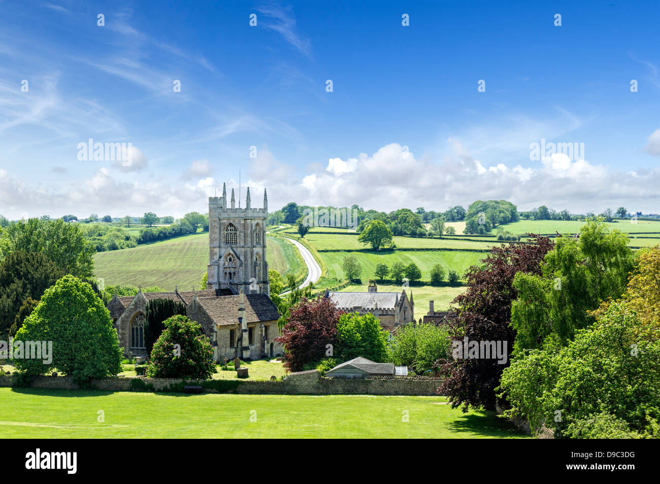 Typical old English country church and English countryside at Norton St Philip, Somerset, England, UK - Stock Image