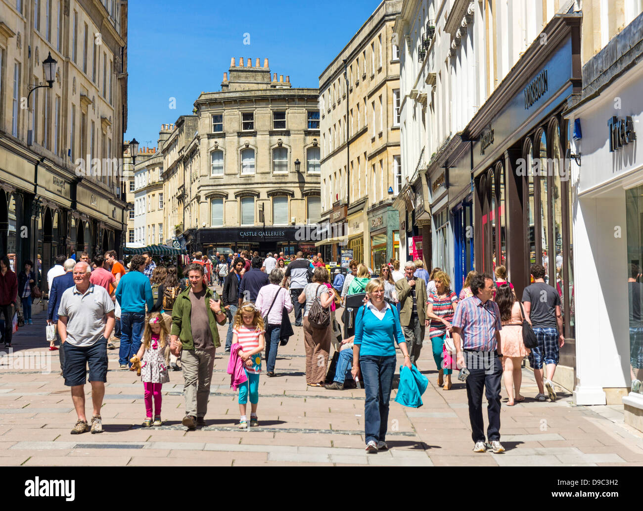 People shopping in Bath city centre, Somerset, England, UK - Stock Image